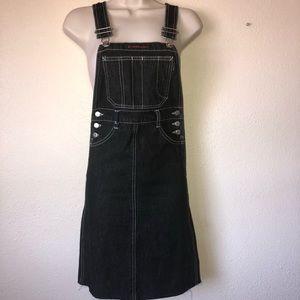 CALVIN KLEIN vintage black denim overall dress Sz0